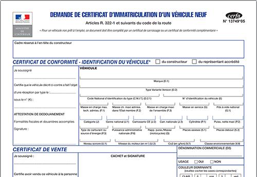 Formulaire Cerfa N 13749 Demande De Certificat D Immatriculation Vehicule Neuf