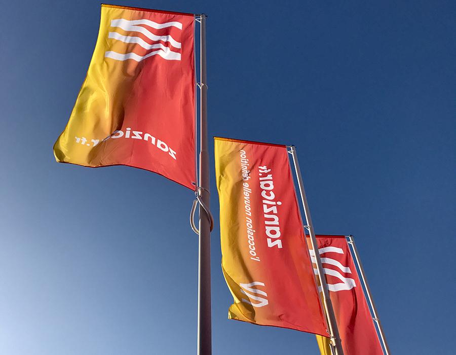 Les drapeaux de Zanzicar devant le magasin