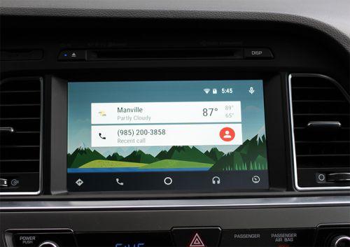 Le menu principal du système Android Auto