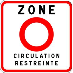 Panneau indiquant l'entrée dans une ZCR