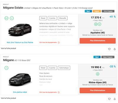 selectionner une offre automobile