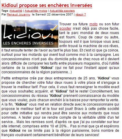 Article du site Internet Caradisiac sur Kidioui