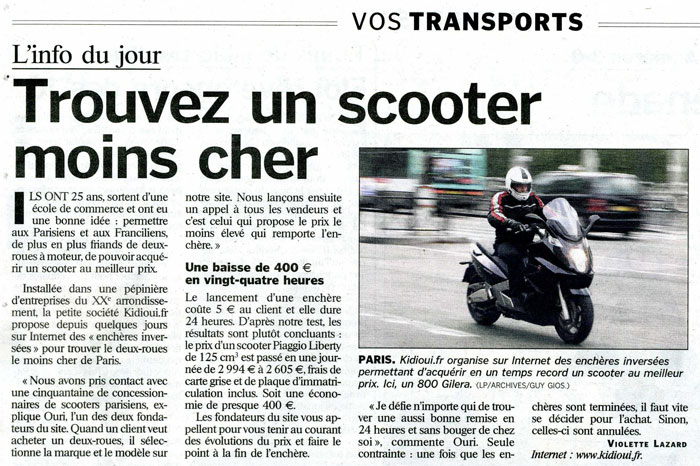 le parisien parle de kidioui acheter un scooter moins cher. Black Bedroom Furniture Sets. Home Design Ideas